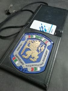 Метален знак на ГД Национална Полиция с място за документи и служебна карта